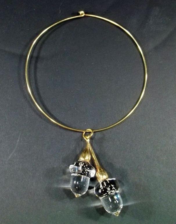 55: Steuben Acorns Pendant Necklace
