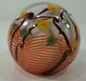 Paperweight -Orange Pulled Feather
