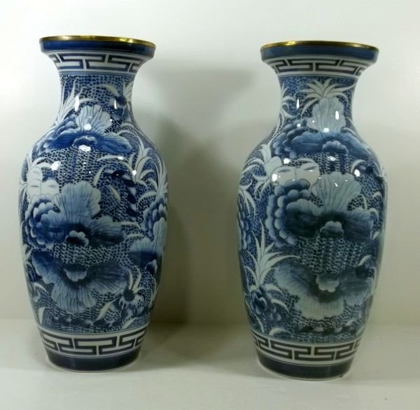 97: Pair of Blue & White Mantle Vases Late20th Century