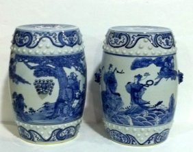 Pair Of Chinese Blue & White Garden Seats