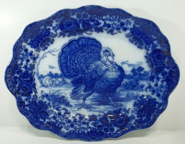 "100: Flow Blue Staffordshire Platter  ""Tom Turkey"""
