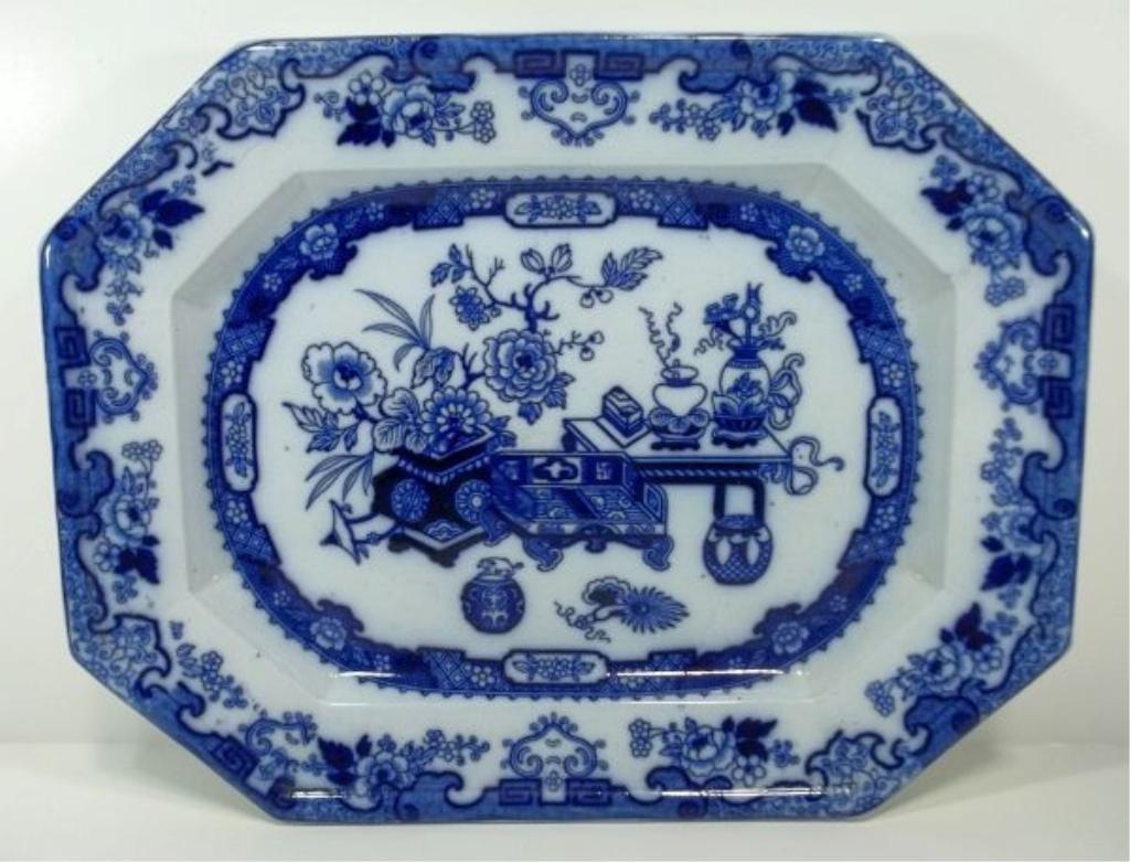 101: Flow Blue Staffordshire Platter