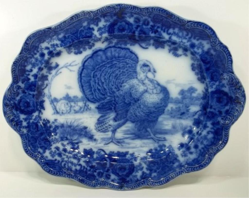 "102: Flow Blue Staffordshire Platter ""Tom Turkey"""