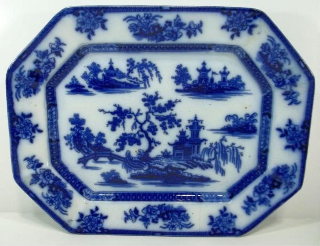 103: Flow Blue Staffordshire Platter