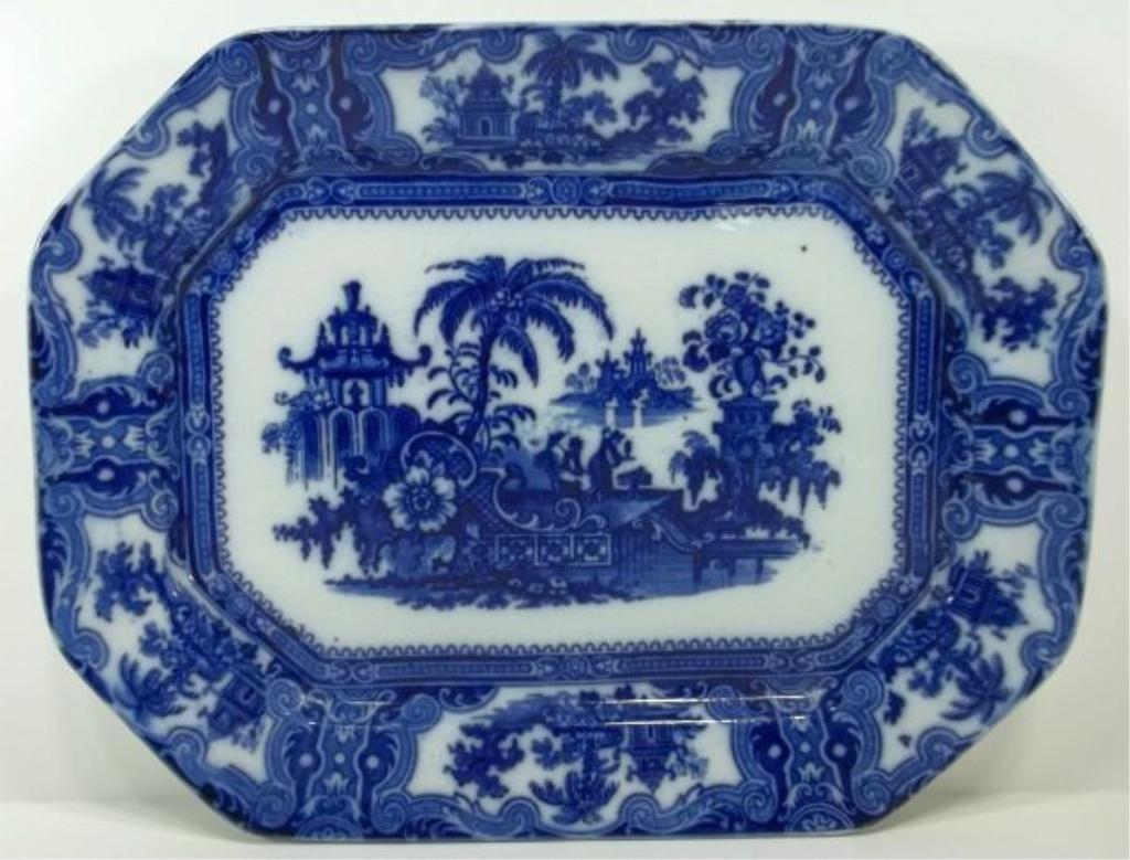 105: Flow Blue Staffordshire Platter