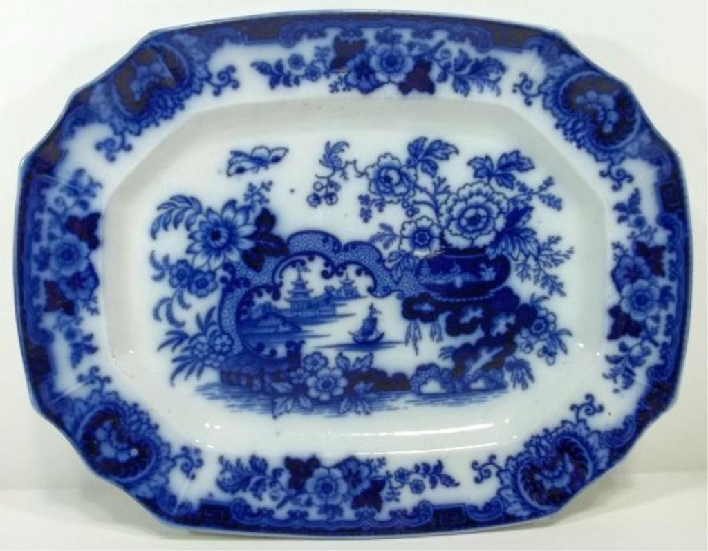 106: Flow Blue Staffordshire Platter
