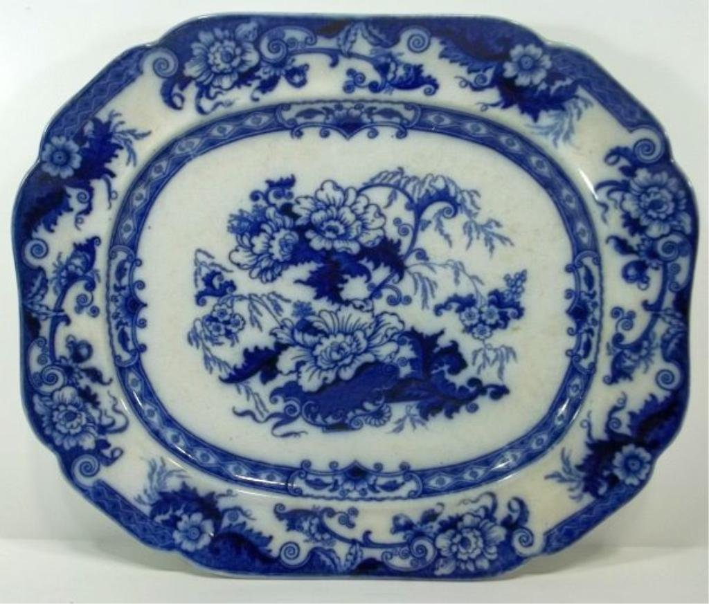 107: Flow Blue Staffordshire Platter