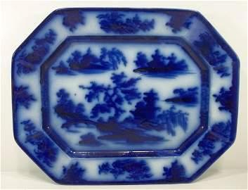 108: Flow Blue Staffordshire Platter
