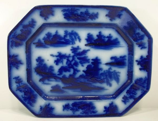 108: Flow Blue Staffordshire Platter