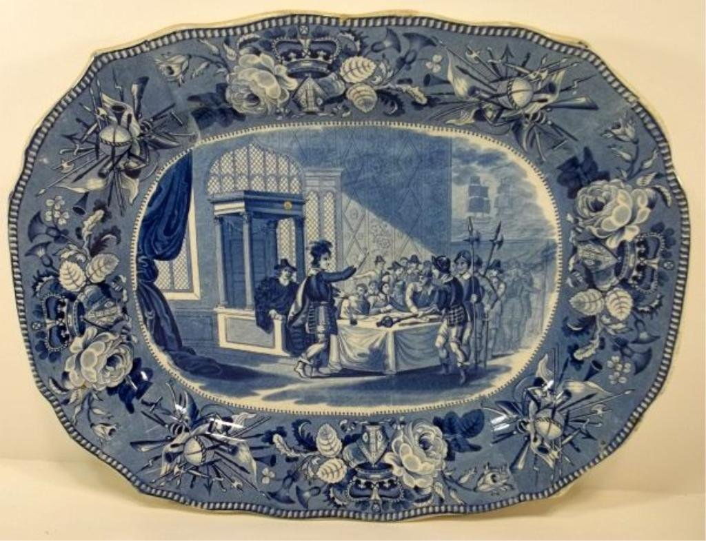 109: Blue Transfer Staffordshire Platter