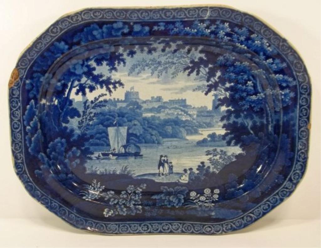 """110: Dark Blue Staffordshire Platter """"Windsor Castle"""""""