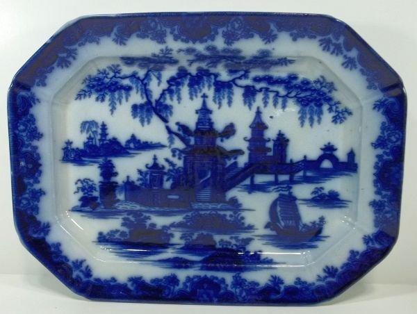 112: Flow Blue Staffordshire Platter