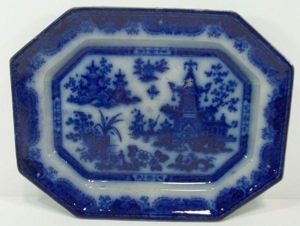 113: Flow Blue Staffordshire Platter