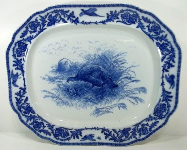 "116: Flow Blue Staffordshire Platter ""Turkey"""