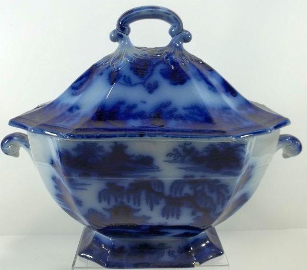 118: Flow Blue Staffordshire Soup Tureen