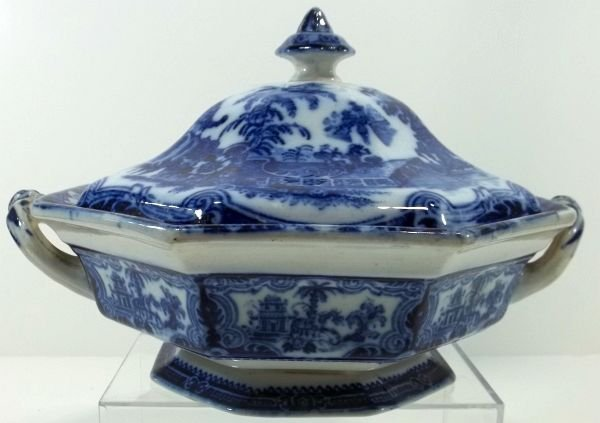 119: Flow Blue Staffordshire Covered Vegetable