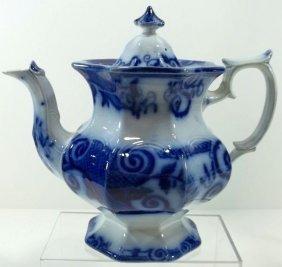 Flow Blue Staffordshire Tea Pot