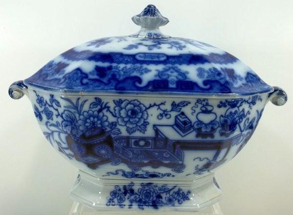 131: Flow Blue Staffordshire Soup Tureen - 2