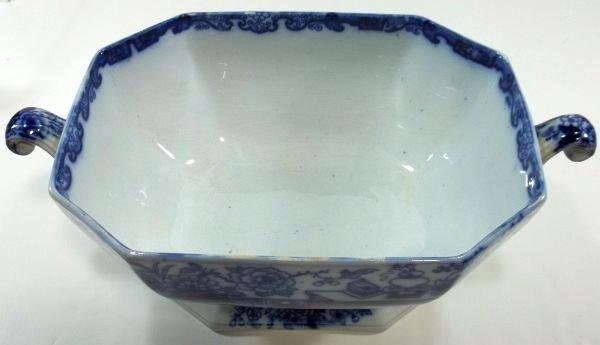 131: Flow Blue Staffordshire Soup Tureen - 3