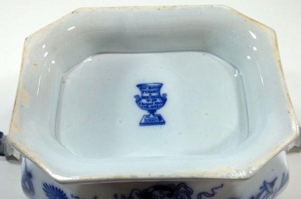 131: Flow Blue Staffordshire Soup Tureen - 4