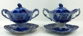 2-Flow Blue Staffordshire Sauce Tureens