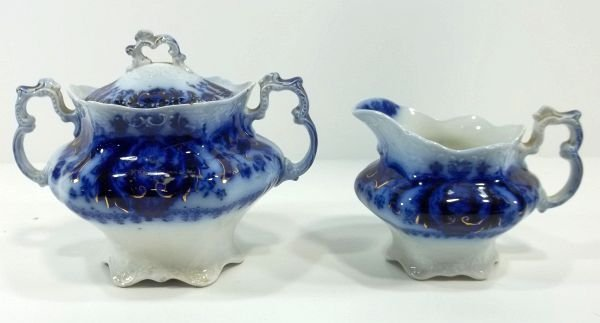 145: Flow Blue Staffordshire Sugar & Creamer