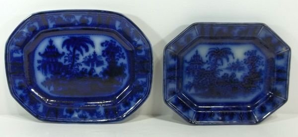 150: 2 Flow Blue Staffordshire Platters