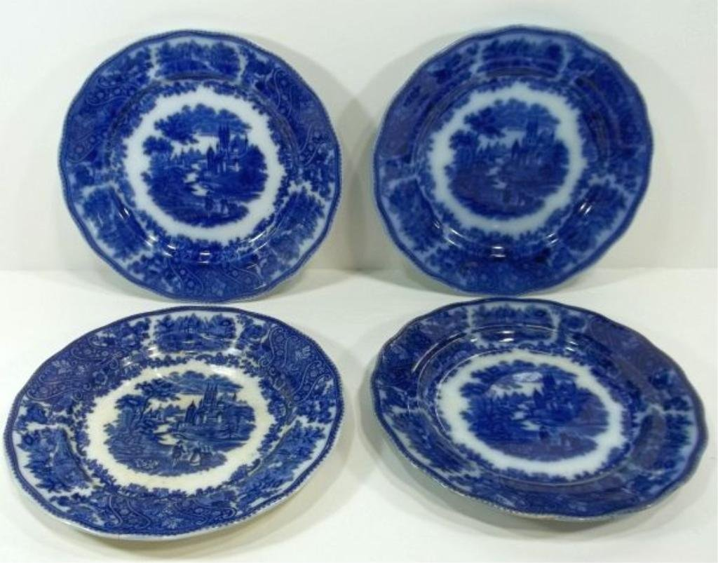 153: 4-Flow Blue Staffordshire Plates