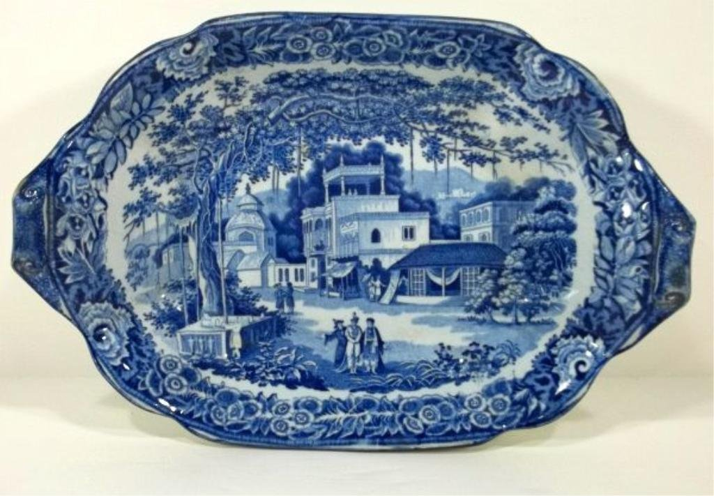 156: Blue Transferware Staffordshire Oblong Bowl