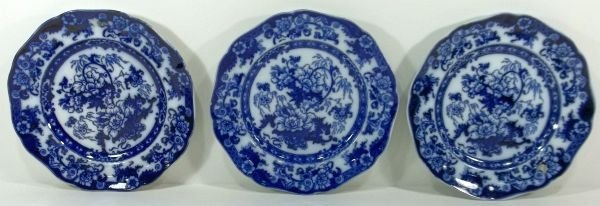 160: 3-Flow Blue Staffordshire Plates
