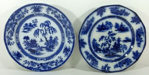 162: 2-Flow Blue Staffordshire Plates