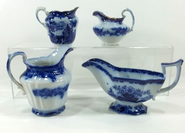 163: Flow Blue Staffordshire Mix Lot