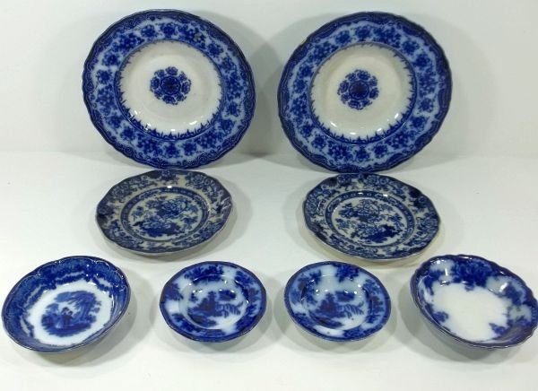 164: 8pc. Flow Blue Staffordshire Mixed Grouping