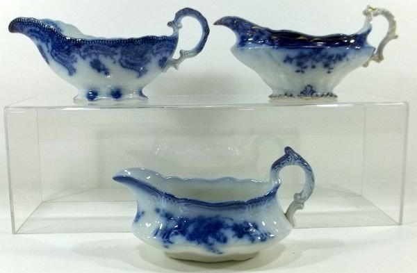 165: 3-Flow Blue Staffordshire Sauce Boats