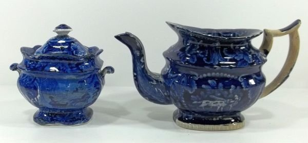 166: Dark Blue Transferware  Staff Tea Pot & Sugar Bowl
