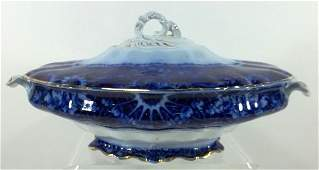 176 Flow Blue Staffordshire Covered Vegetable