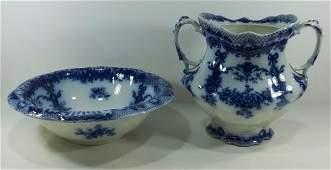 247: Flow Blue Staffordshire Wash Bowl & Waste Jar