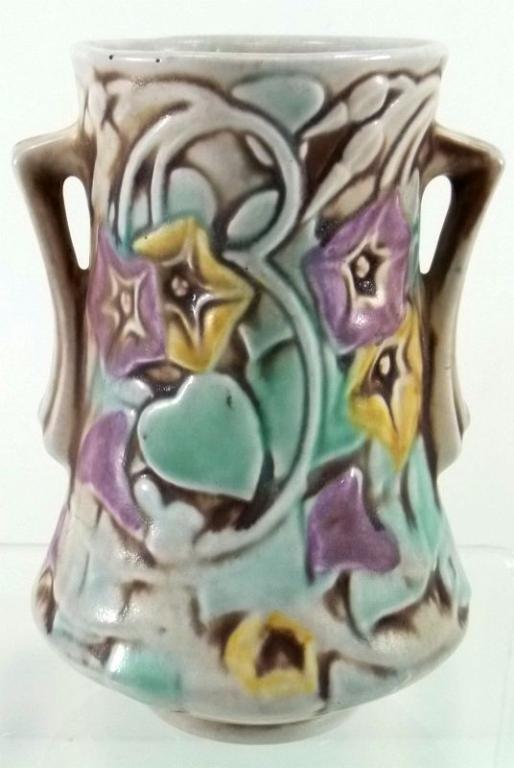 274: Roseville Pottery Morning Glory White Vase