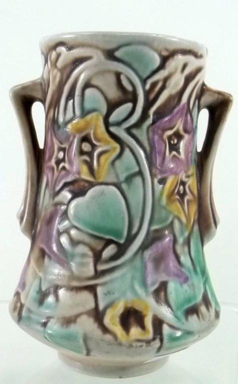274: Roseville Pottery Morning Glory White Vase - 2