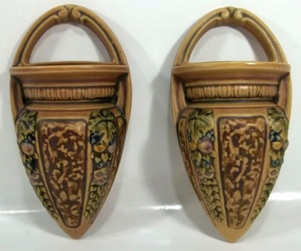 """Pair of  Roseville """"Florentine"""" Wall Pockets"""