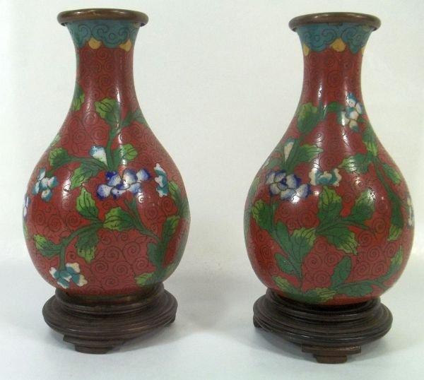 Pair of Cloisonne Vases