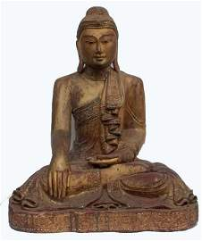 Large Carved Seated Buddha