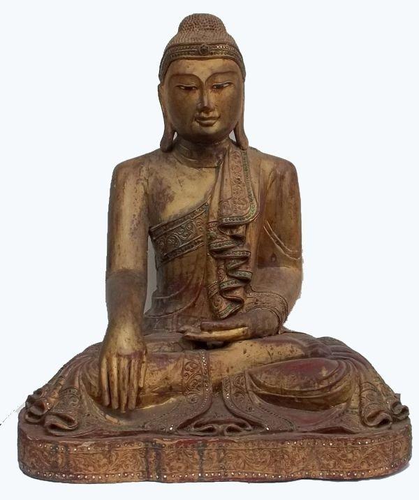 Large Carved Seated Buddha