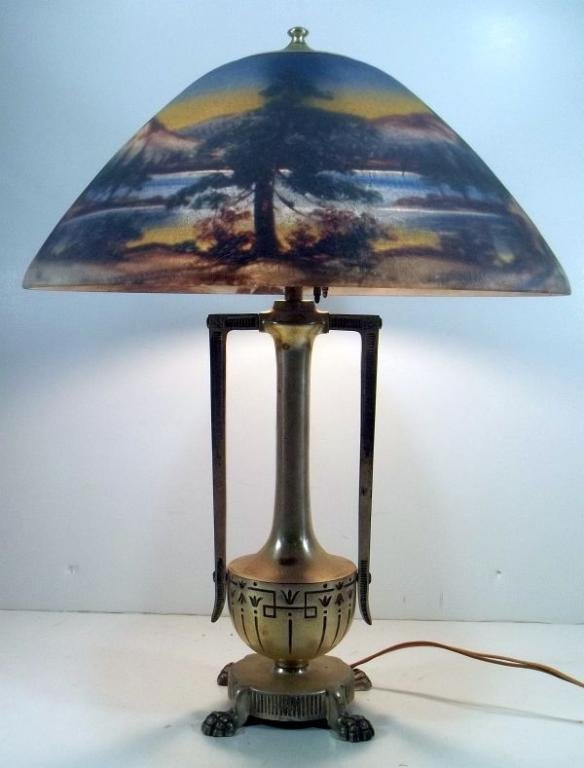 Moe Bridges Reverse Painted Scenic Table Lamp