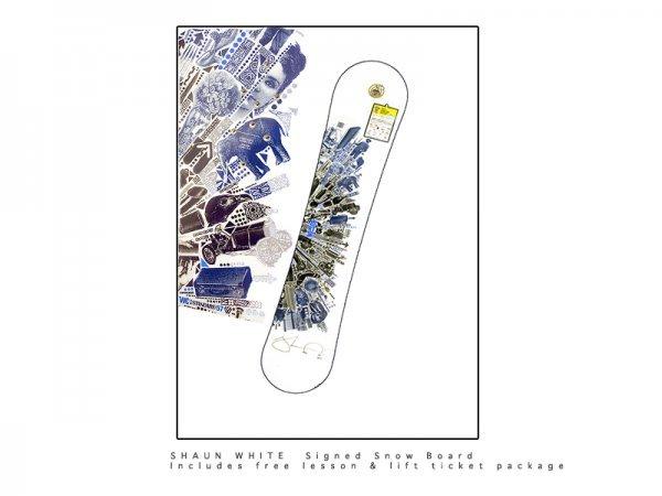 1: Shaun White snowboard and Lindsey Vonn ski suit