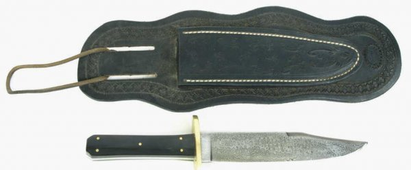 13: Contemporary coffin handle Damascus blade bowie