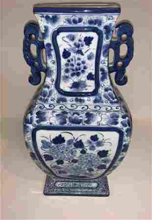 Blue and White Square Handle Vase