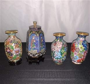 4 Cloisonne Vases