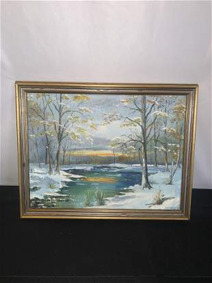 Winter River Scene Painting, signed