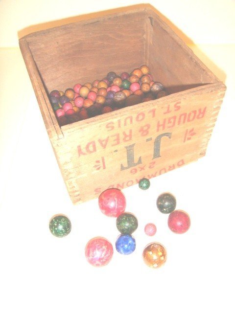 12: Lot of Clay Marbles in Advertising Crate